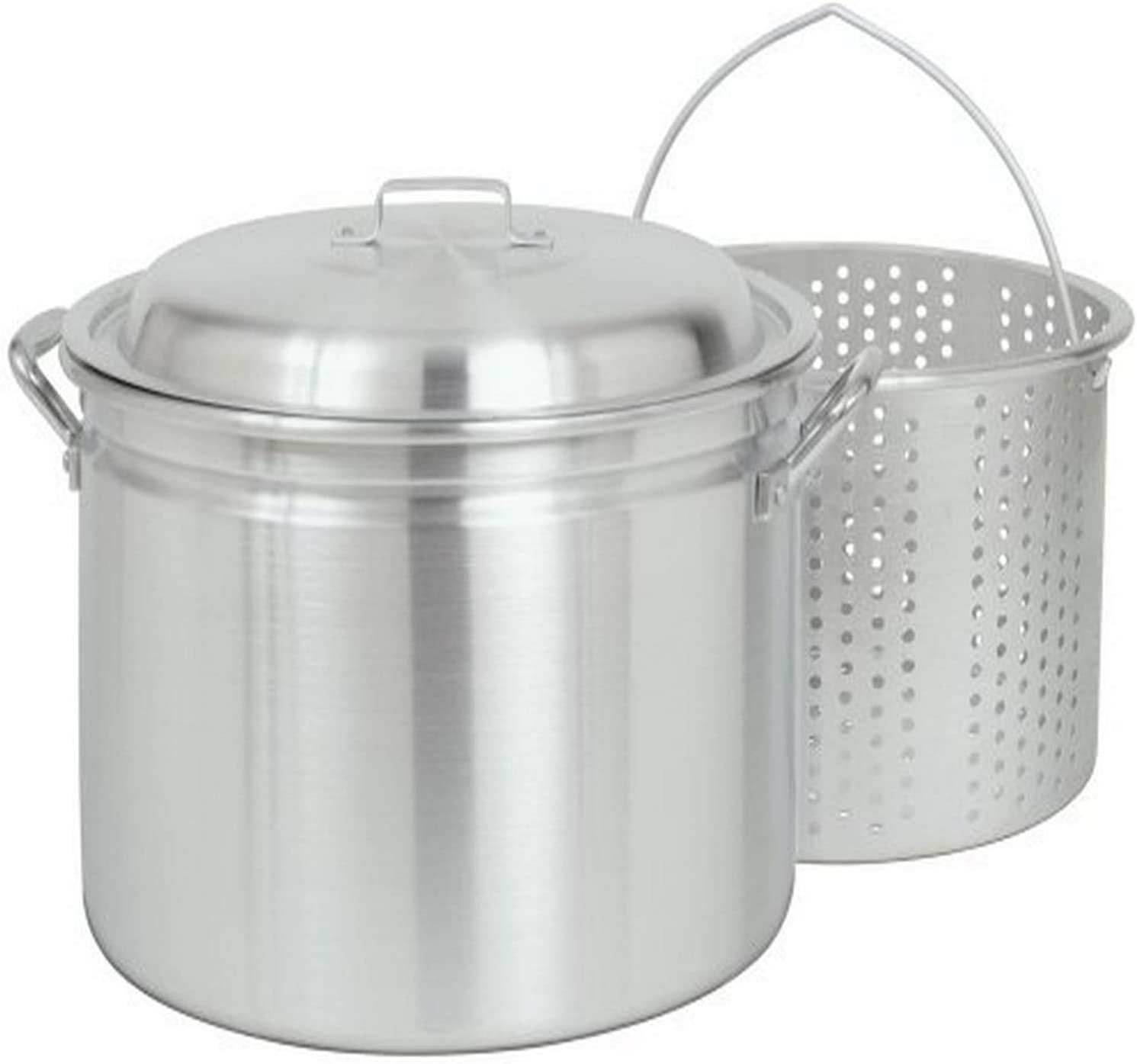 Bayou Classic 4034, 34-Qt. Stockpot with Steam/Boil Basket and Vented Lid, aluminum