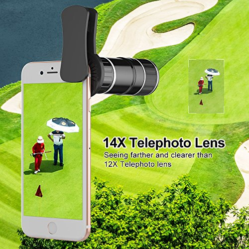 Phone Camera Lens, 4 in 1 iPhone Telephoto Lens, 14X Telephoto Lens + 180° Fisheye Lens + 15X Macro Lens + 0.65X Wide Angle Lens + Tripod & Phone Holder for iPhone x 8 7 6 plus, Samsung and Smartphone by UMTELE (Image #2)
