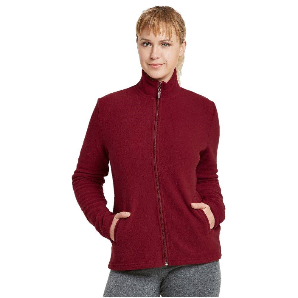 Mechaly Women Classic Full Zip Long Sleeve Polar Fleece Jacket (Burgundy, Large)