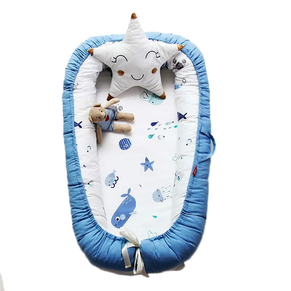 piaoling Compact Crib Baby Sleeping Nest Bed Removable Washable Newborn Bassinet Crib Cotton Infant Cradle Cot 90x55cm Portable (Color : Blue) by piaoling