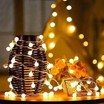 Bombillas Cadena de Luces Navidad,DINOWIN 5 Medidor 50 LED Bola Redonda Solar Guirnalda Luz Decoración de Exterior, Jardín, Patio, Fiesta, Dormitorio, Casa Atmósfera Iluminación (Blanco Cálido): Amazon.es: Iluminación