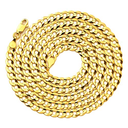LoveBling 14K Yellow Gold 4.5mm Plain Solid Curb Cuban Necklace W/Lobster Lock (18