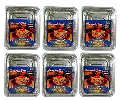 Set of 6 Disposable Durable Aluminum Foil Casserole Pans W/Lid (6)