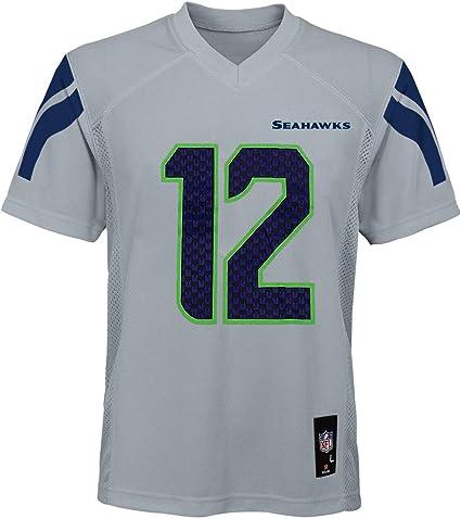 Amazon.com : Fan #12 Seattle Seahawks Gray Youth Alternate Mid ...