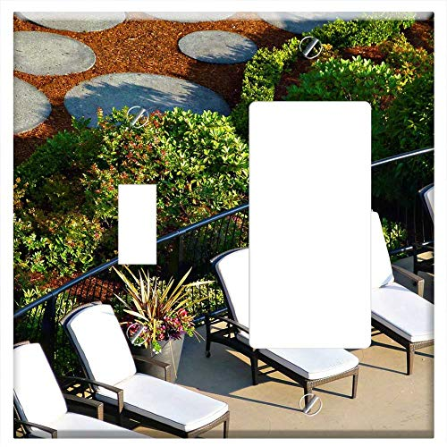 1-Toggle 1-Rocker/GFCI Combination Wall Plate Cover - Chairs Deck Deck Chairs Swimming Pool Spa Vac ()