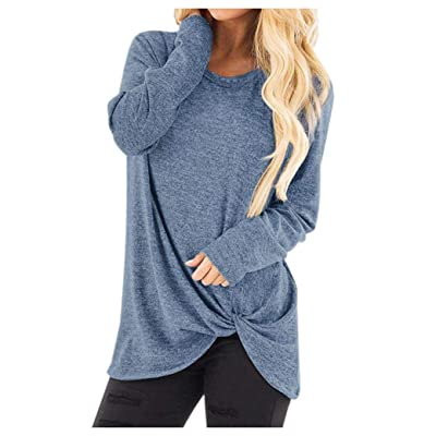 Women Long Sleeve T-Shirt Pullover,Fashion Loose Sweatshirt O-Neck Casual Solid T-Shirt Blouse Tops T-Shirt Dress: Clothing