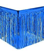 مفرش مائدة معدني للحفلات - زينة حفلات أعياد الميلاد مع شريط لاصق - (أزرق) (274 × 74 سم)