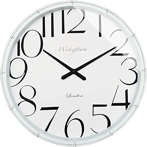 Westzytturm 30 inch Wall Clock White Large Decorative Silent Quartz Movement Battery Operated Modern Rustic Style Giant Wall Clocks