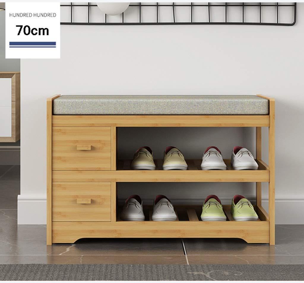 XHCP Multi-Couche de Rangement Pratique pour /économiser de lespace en Bois Massif 2 Niveaux de Chaussure Banc de Rangement pour Chaussure de Couloir avec Coussin de si/ège Amovible Gris Bamboo Po