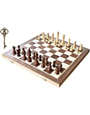 Chess Set, HOWADE 38cm X 38cm inch Magnetic Foldable Wooden Chess Board Game with Chessmen Storage Slots Unique Crafted Handmade Checkers Tournament Chess Game