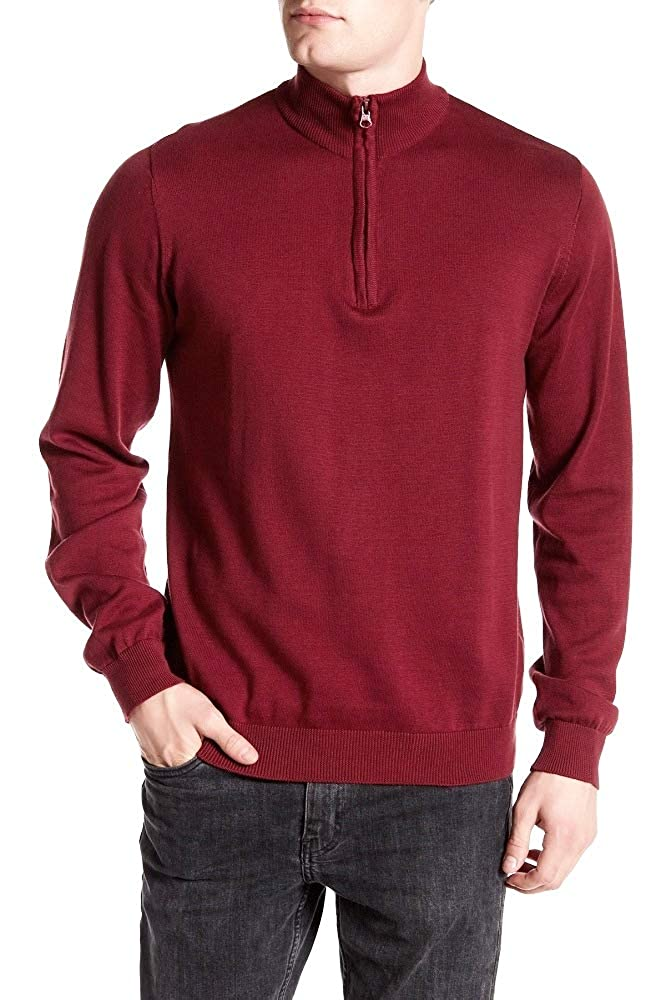Report Collection New $88 Burgundy Slim FIT 1//2 Zip Mock Neck Sweater Size M