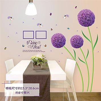 ALLDOLWEGE Kreative Lila Löwenzahn Home Dekoration Wand Aufkleber Zimmer  Schlafzimmer Bett Warm Fernseher Sofa Wohnzimmer Hintergrund