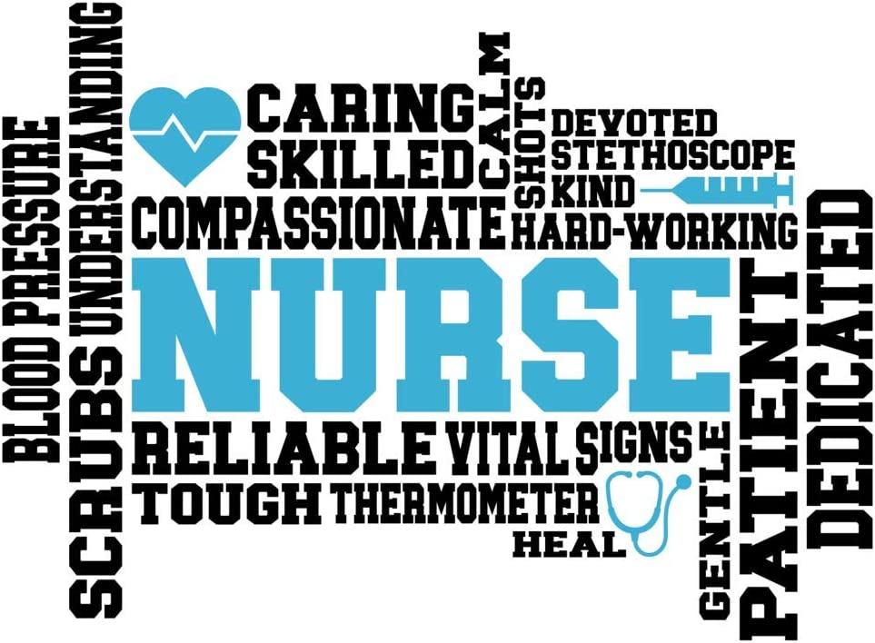 More Shiz Nurse Words Blue Black Vinyl Decal Sticker MKS1375 One 5.5 Inch Decal Car Truck Van SUV Window Wall Cup Laptop