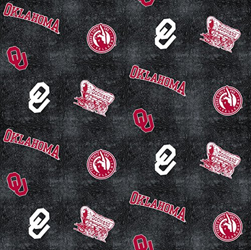 UNIVERSITY OF OKLAHOMA FLANNEL FABRIC WITH DISTRESSED GROUND-OKLAHOMA SOONERS 100% COTTON FLANNEL FABRIC SOLD BY THE - Store Sooner
