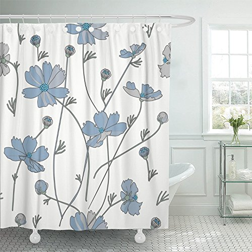(Emvency Shower Curtain Print 72x72 Abstract Cosmos Flowers in Blue and Gray on White Beautiful Beauty Bloom Color for Bathroom)