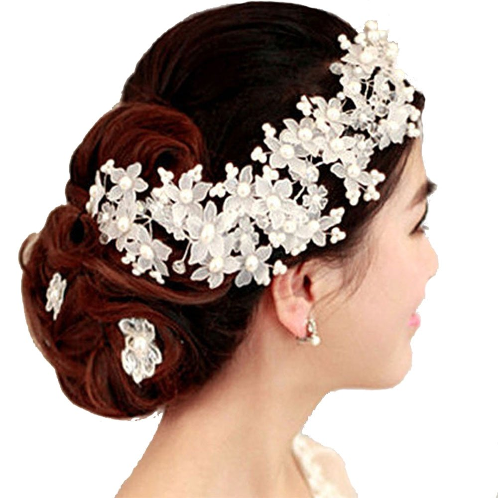 Wedding Hair Accessories Crystal Pearl Flower Barrettes Bridal Tiara And Crown Handmade Hair Jewelry 153