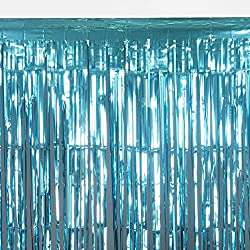 BalsaCircle 3 feet x 8 feet Turquoise Sparkling Metallic Foil Fringe Curtain - Wedding Ceremony Party Home Window Decorations