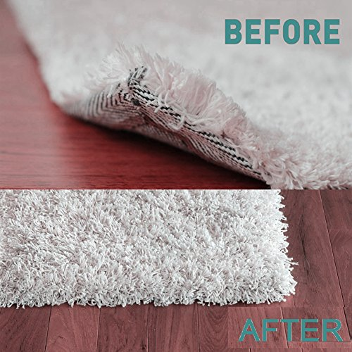 Yelanon Rug Grippers, 8pcs white Anti Curling Carpet Gripper, Renewable Washable Non Slip Tape Pad For Rug, Keeps Your Carpet Edges and Corners Flat, Strong Stickiness Without Hurting Floor by Yelanon (Image #5)