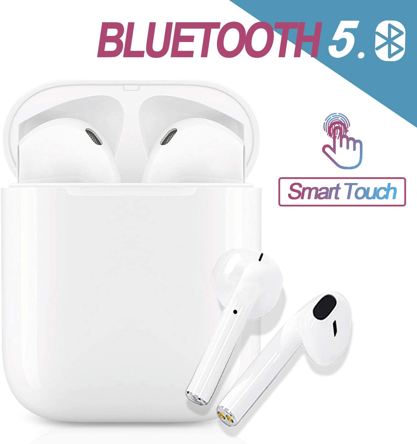 Bluetooth 5.0 Headset Wireless Earbuds 3D Stereo Headphone with Fast Charging Case,Auto Pairing in-Ear Ear Buds IPX5 Waterproof Mini Sports Earphones for iPhone Apple Airpods Wireless Earbuds