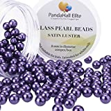 PandaHall Elite 8mm About 200Pcs Tiny Satin Luster Glass Pearl Round Beads Assortment Lot for Jewelry Making Round Box Kit Violet