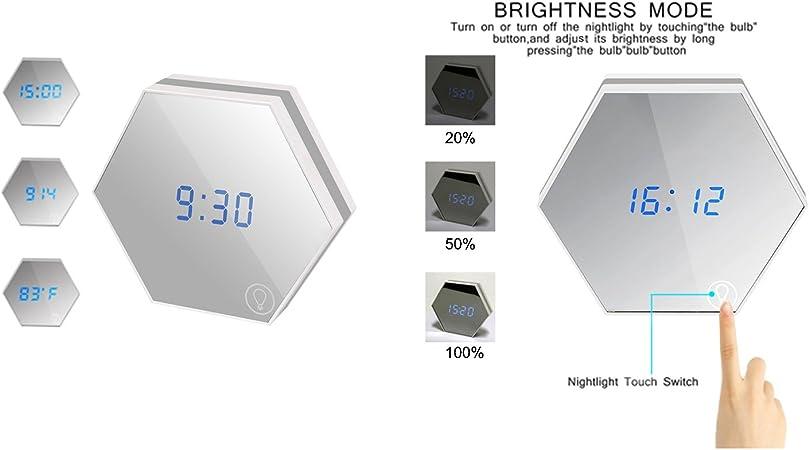 skitic espejo reloj despertador, multifunción Dimmable espejo ...