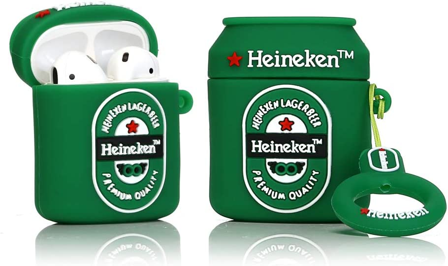 LEWOTE Airpods Silicone Case Funny Cute Cover Compatible for Apple Airpods 1&2[Beer&Drink Series][Best Gift for Girls Boys or Couples] (Heineken)