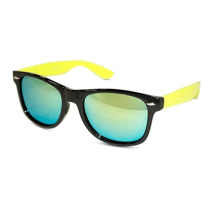 Amazon.com: Negro anteojos de sol w/Colored Templos de neón ...