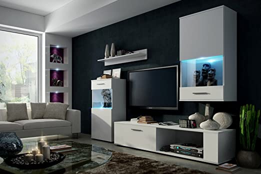 HomeDirectLTD Anne Moderno Conjunto De Muebles De Salón (Blanco Mat Base/Blanco Mat Frente, RGB Remoto)