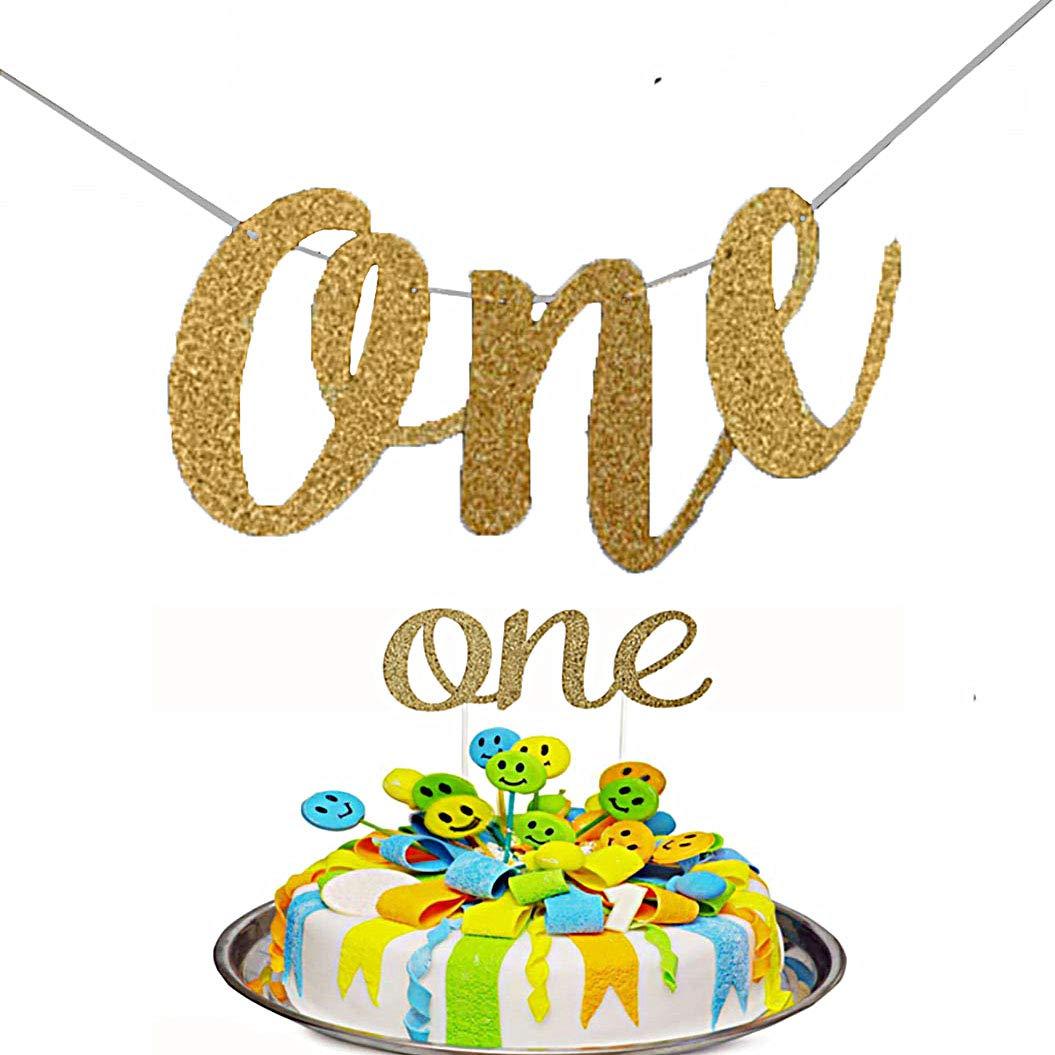 1歳の初めての誕生日デコレーション - パーティー用品 ケーキトッパー グリッターゴールド 1歳のお祝いに最適 2パック   B07J698151