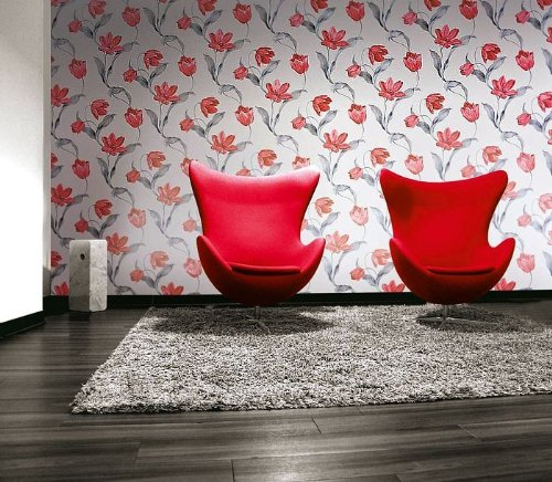 Flower tulip wallpaper wall edem 828 20 deluxe deep embossed creamy white light grey red silver grey 75 sq feet amazon com