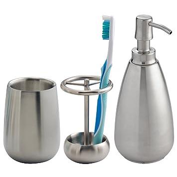 mDesign Juego de 3 accesorios para baño – Conjunto de baño con soporte para cepillo de