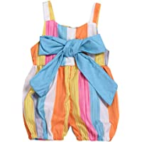 Kidscool SpaceColorful Striped Pleated Cotton Casual Soft Jumper Overalls
