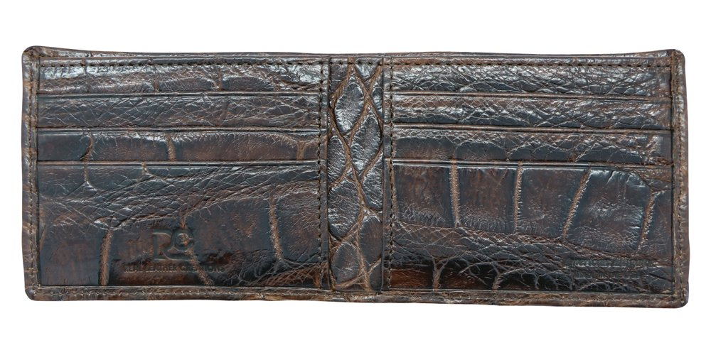 Brown Genuine Alligator Millennium Bifold Wallet – Alligator Inside and Out RARE - Factory Direct - Gift Box - Slim Billfold - Black Brown Cognac – Made in USA by Real Leather Creations FBA298 by Real Leather Creations (Image #5)