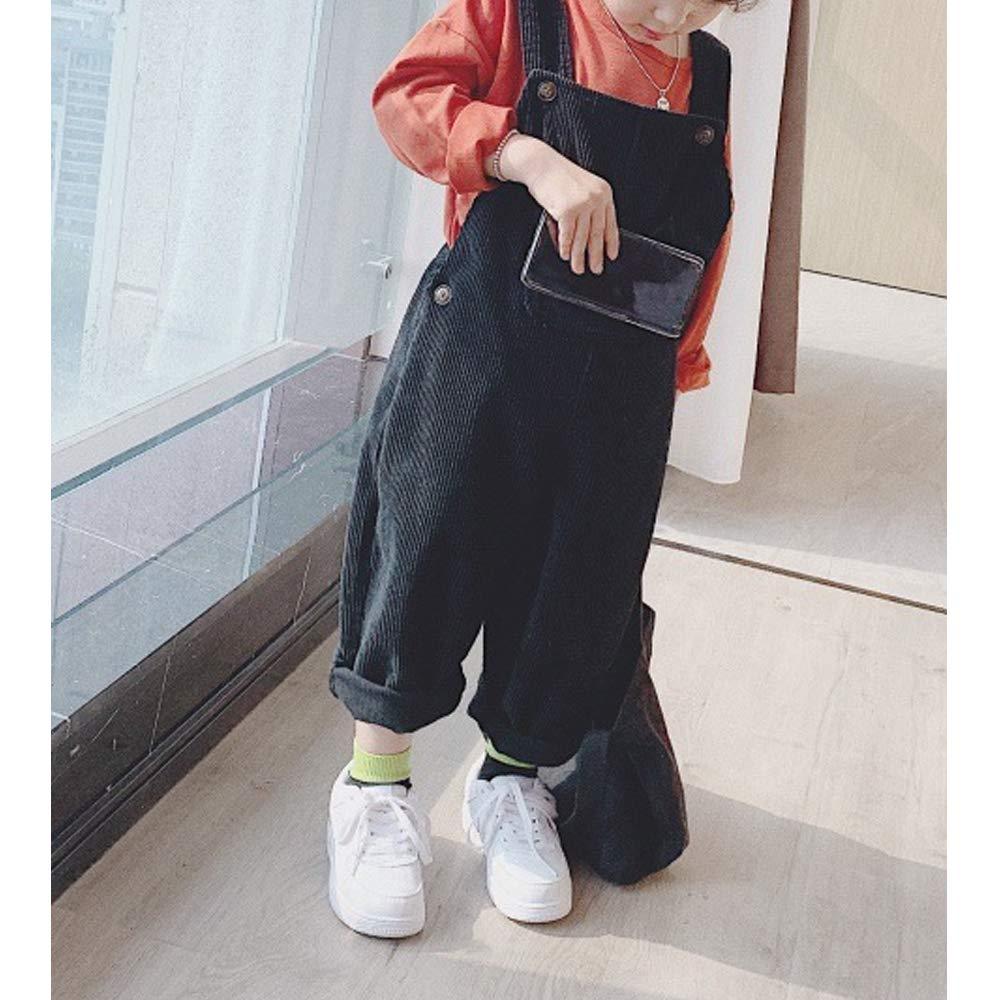 OCHENTA Girls Corduroy Bib Overall with Front Pocket