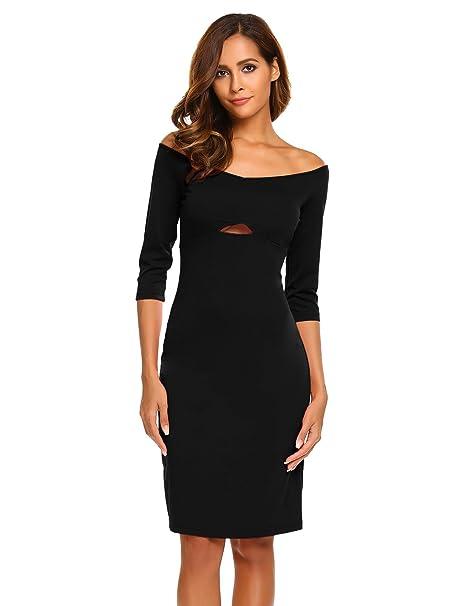 0ac0bf417d75 Chigant Carmenkleid Damen Off Shoulder Kleid Knielang Halbe Ärmel Etuikleid  Bleistiftkleid Bodycon Abendkleider  Amazon.de  Bekleidung