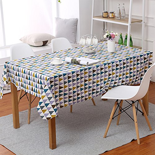 ColorBird Geometric Series Tablecloth Triangle Pattern Cotton Linen Dust-proof Table Cover for Kitchen Dinning Tabletop Linen Decor (Square, 55 x 55Inch, Colorful - Triangle Geometric