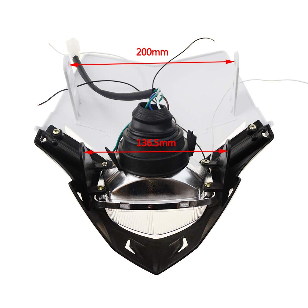 GOOFIT White H4 l 12V 35W Motorbike Headlight 2 Indicators lights Supermoto Motocross Approved Cover Halogen Indicator Fairing Lampshade lights For Bicycle Cafe Racer ATV Motorcycle Dirt Bike