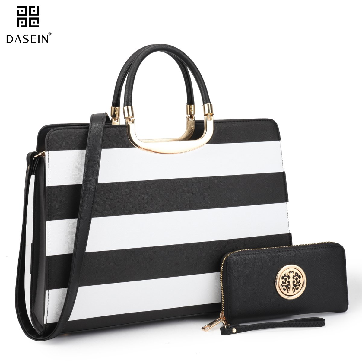 Dasein Designer Purse Stripes Satchel Handbag PU Leather Purse Top Handle Handbags (XL2828 stripe 2PCs- Black/White)