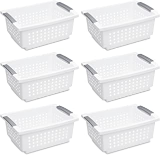 product image for Sterilite 16628006 Medium Stacking Basket, White Basket w/ Titanium Accents, 6-Pack