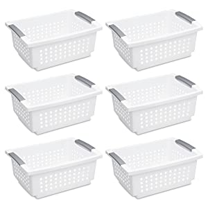 Sterilite 16628006 Medium Stacking Basket, White Basket w/ Titanium Accents, 6-Pack