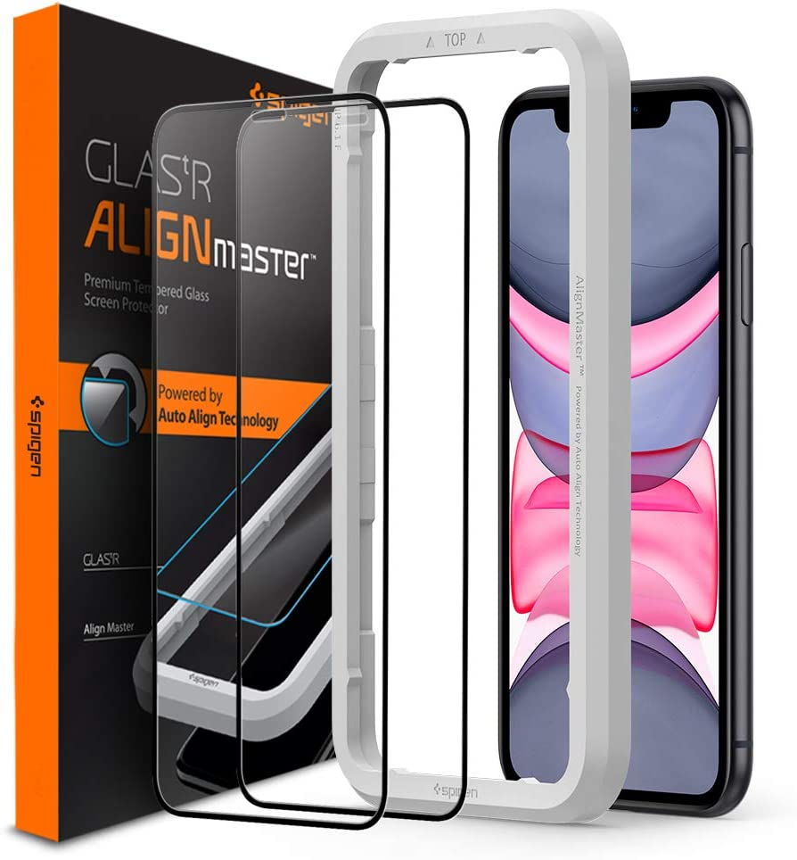 Spigen Tempered Glass Screen Protector [Glas.tR AlignMaster] designed for iPhone 11 (2019) [2 Pack] - Edge to Edge Protection