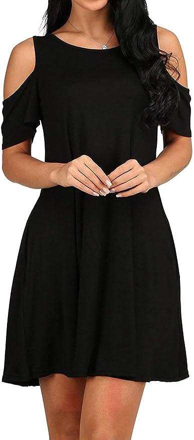 ZSRHH-Falda Vestido de Mujer Verano Casual Frío Hombro Camiseta ...