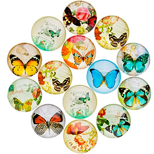 JIUZHU 14 Pieces Butterfly Patterns Glass Refrigerator Magnets Fridge Magnets Sets for Home Office Map Photo Cabinets Whiteboards Decorative