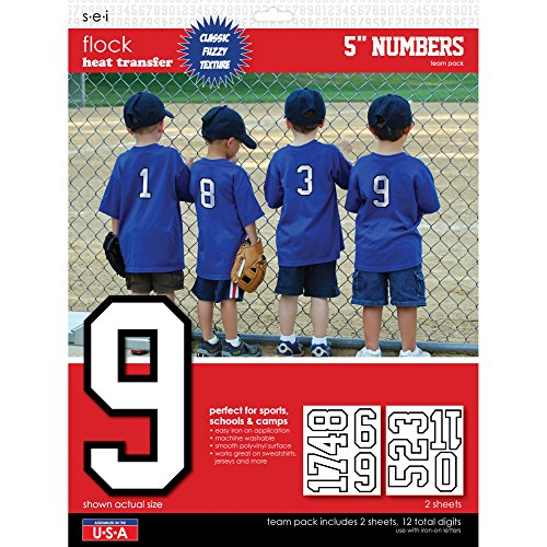 SEI 5-Inch Iron-On Team Pack Athletic Number Transfers, White, 2-Sheet