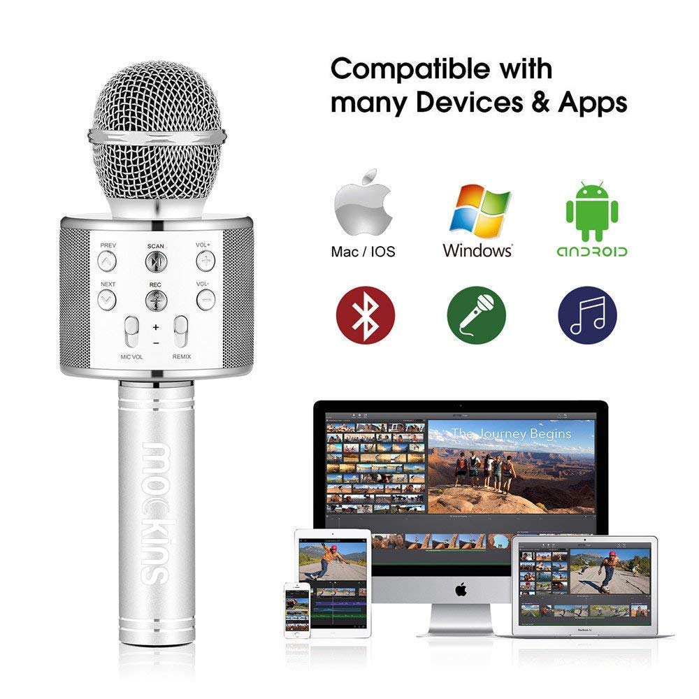 Mockins Premium Wireless Portable Handheld Bluetooth KARAOKE MICROPHONE Compatible with Android & IOS Apple - Silver ... ... ... ... ... by Mockins (Image #3)
