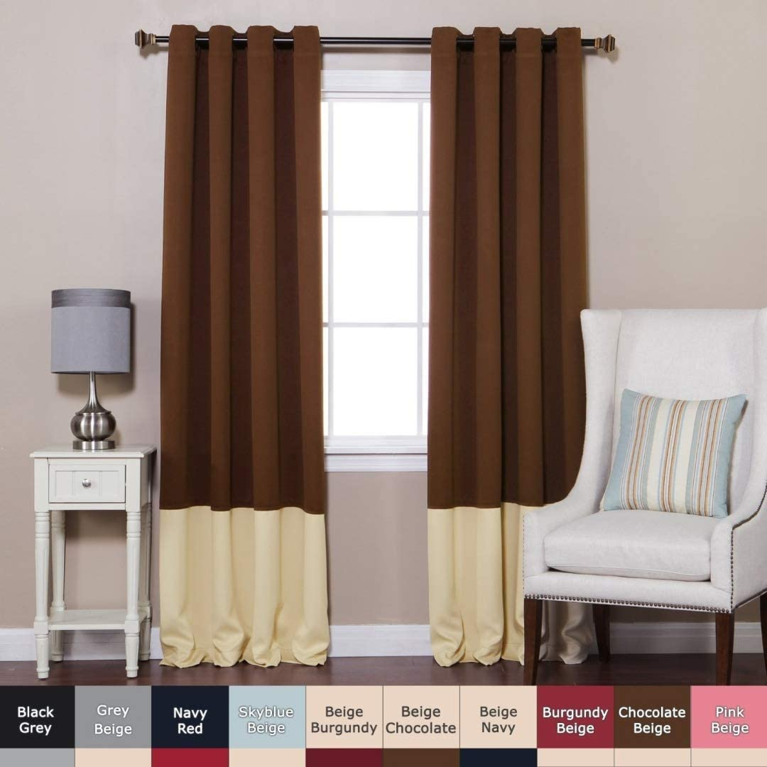 Best Home Fashion Colorblock Thermal Insulated Blackout Curtains - Antique Bronze Grommet Top - Chocolate/Beige -52