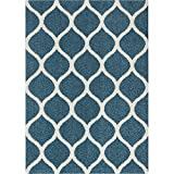Area Rugs, Maples Rugs [Made in USA][Cassie] 7' x 10' Non Slip Padded Large Rug for Living Room, Bedroom, and Dining Room - Overcast Blue