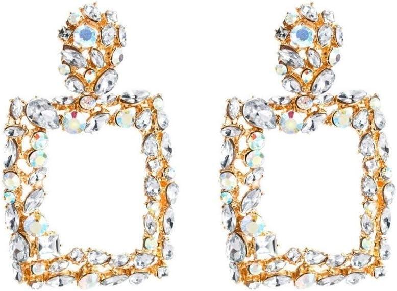 WSNM Pendientes Granate Brillante 925 Color for Las Mujeres cuadradas Los Pendientes de Gota de Agua Dulce de la joyería del Pendiente de la Piedra Preciosa