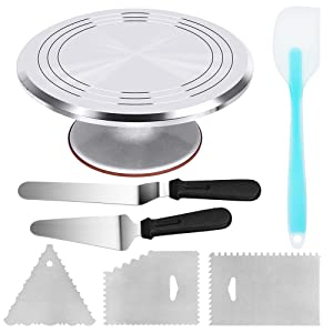 Kootek Aluminium Alloy Revolving Cake Stand 12 Inch Cake Turntable with 12.7'' Angled Icing Spatula and 3 Comb Icing Smoother, Silicon Spatula and Cake Server/Cutter Baking Cake Decorating Supplies