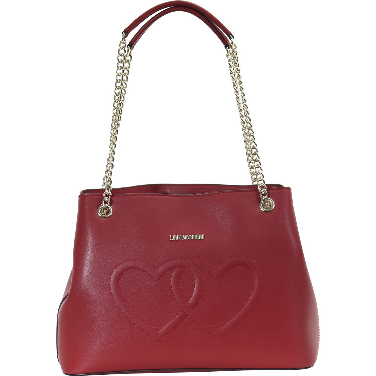 LOVE Moschino Women's Embossed Heart Shoulder Bag Red One Size
